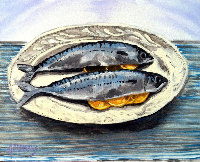 """2 Fish"" original fine art by Jolynn Clemens"