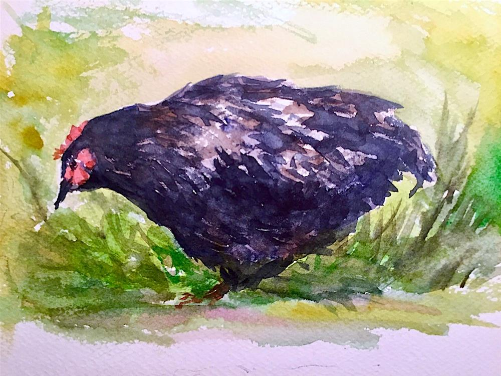 """Black Hen, study"" original fine art by Judith Freeman Clark"