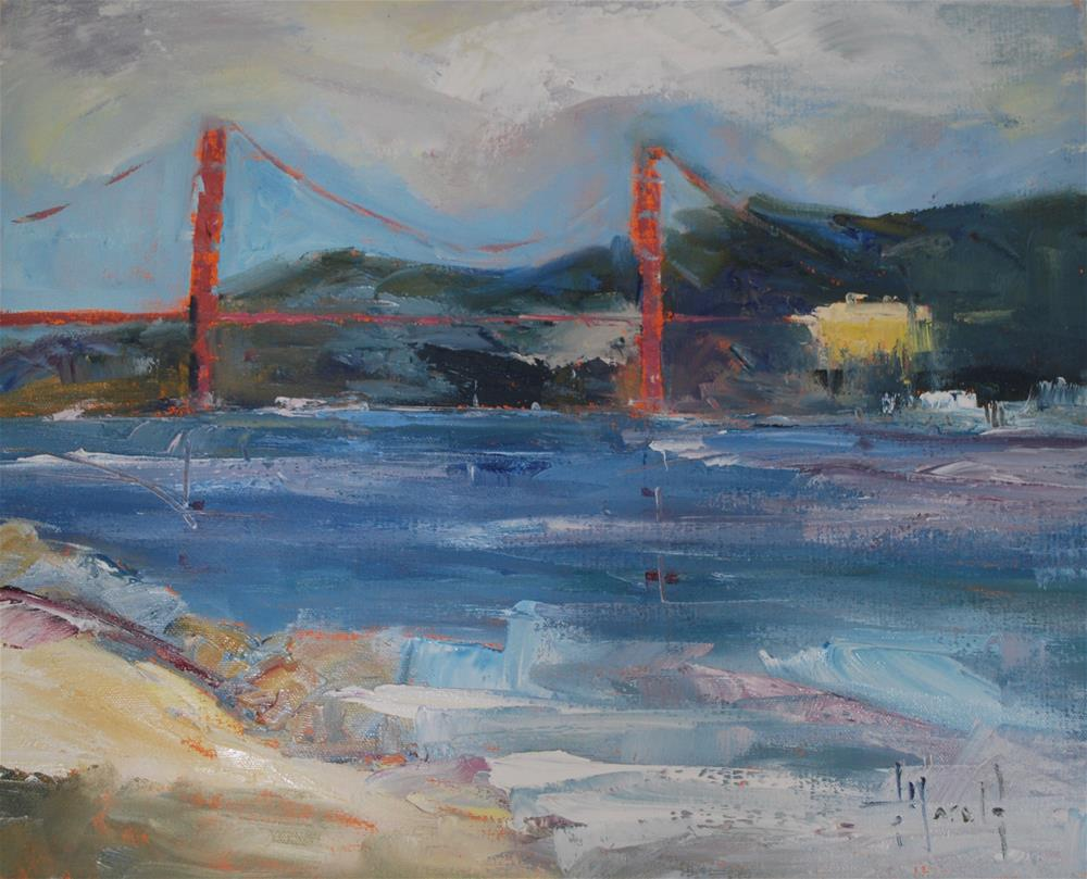 """California Gold, Bridge"" original fine art by Deborah Harold"