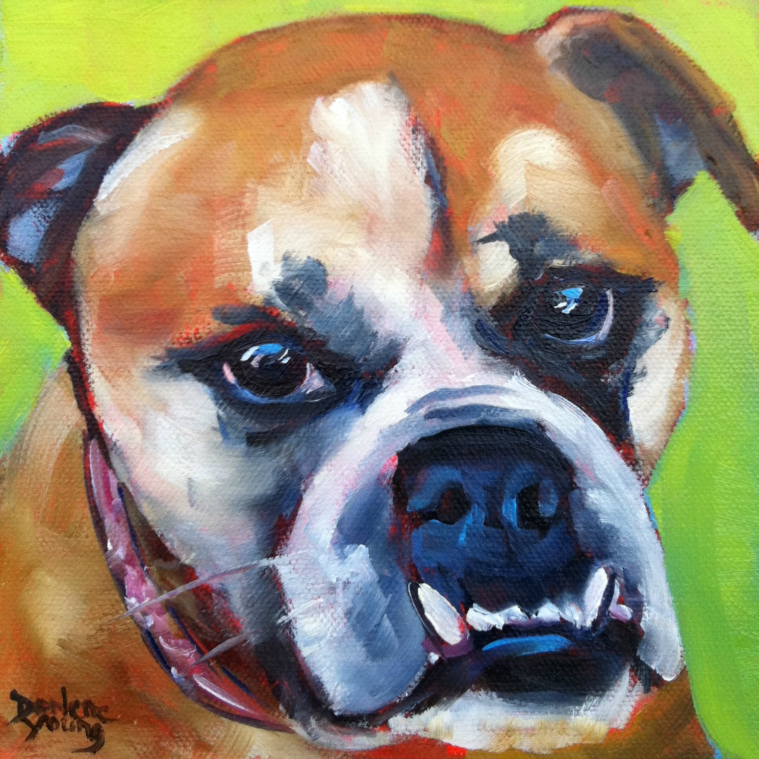 """""""Beatrice, The Best Dog In the World, oil, 6x6"""" original fine art by Darlene Young"""