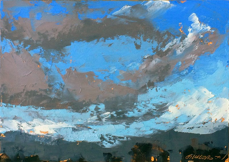 """Racing Winter Clouds"" original fine art by Mary Gilkerson"