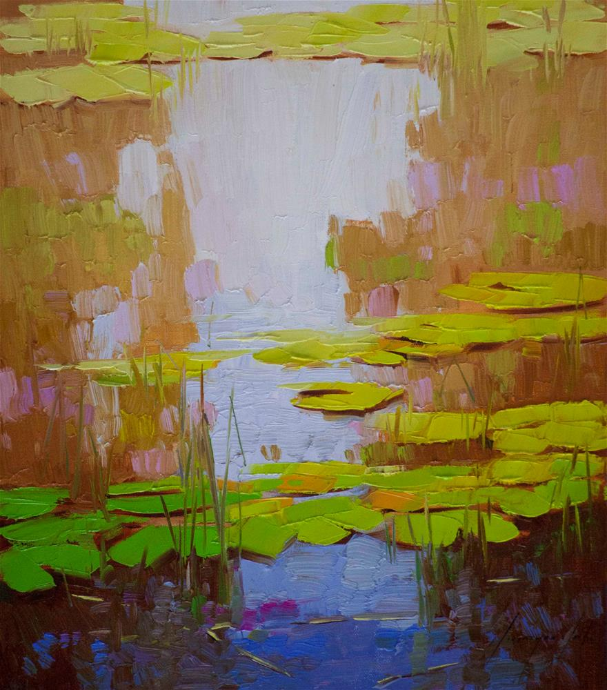 """""""Water Lilies Garden Original oil Painting Signed"""" original fine art by V Y"""