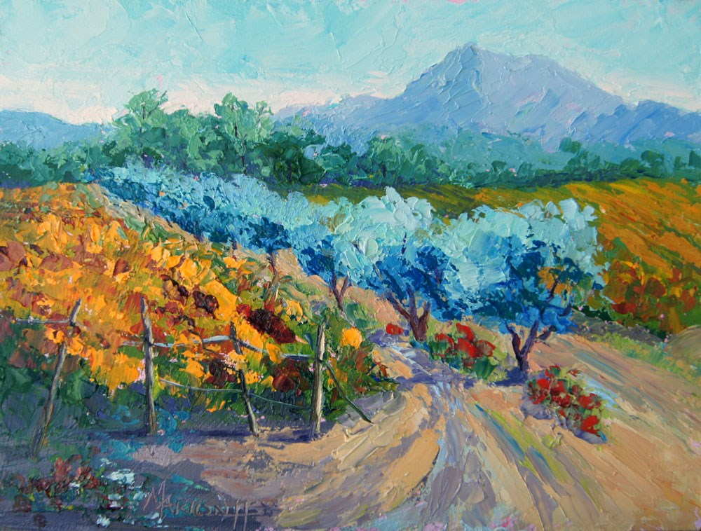"""Autumn Vines and Olives"" original fine art by Marion Hedger"