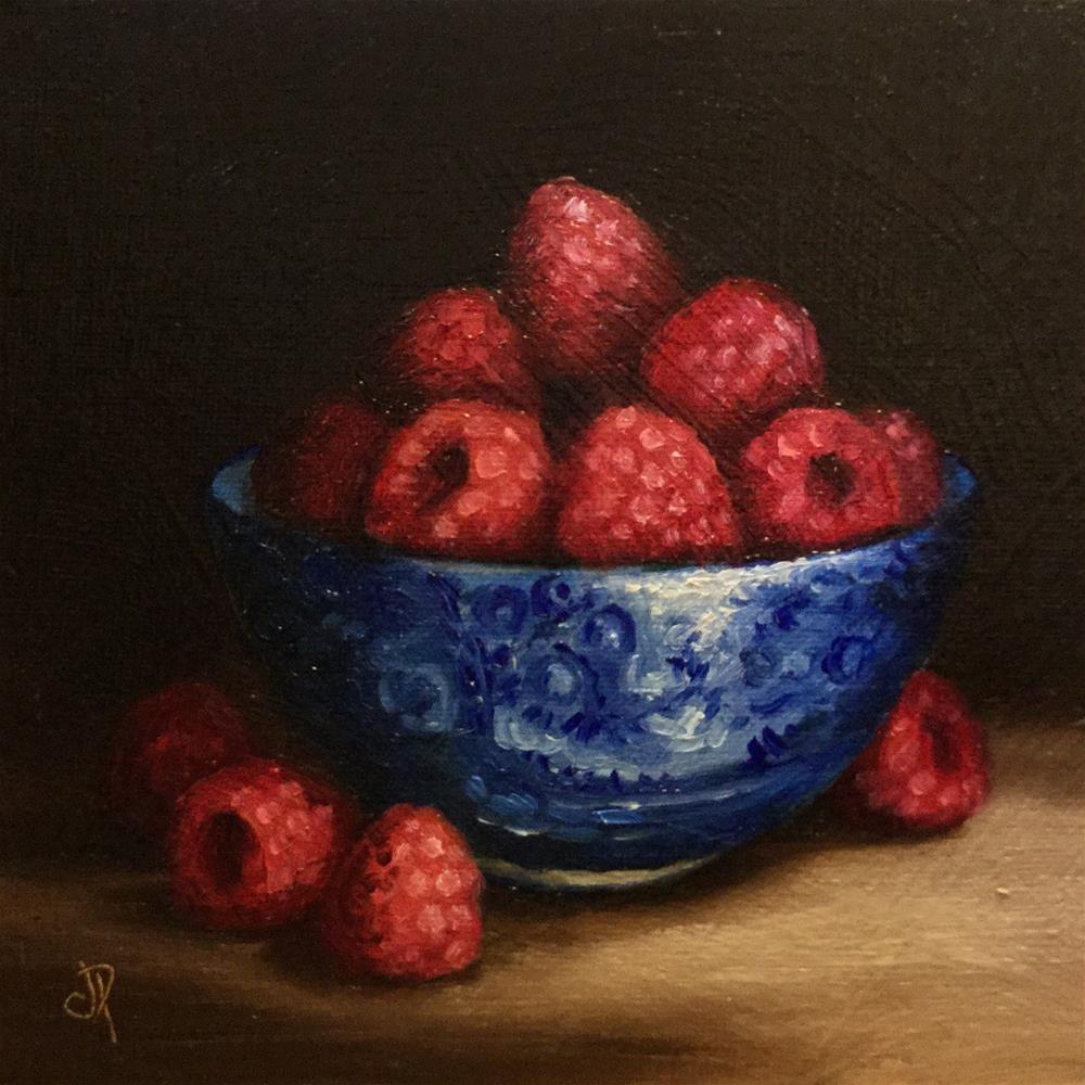 """bowl of Raspberries"" original fine art by Jane Palmer"
