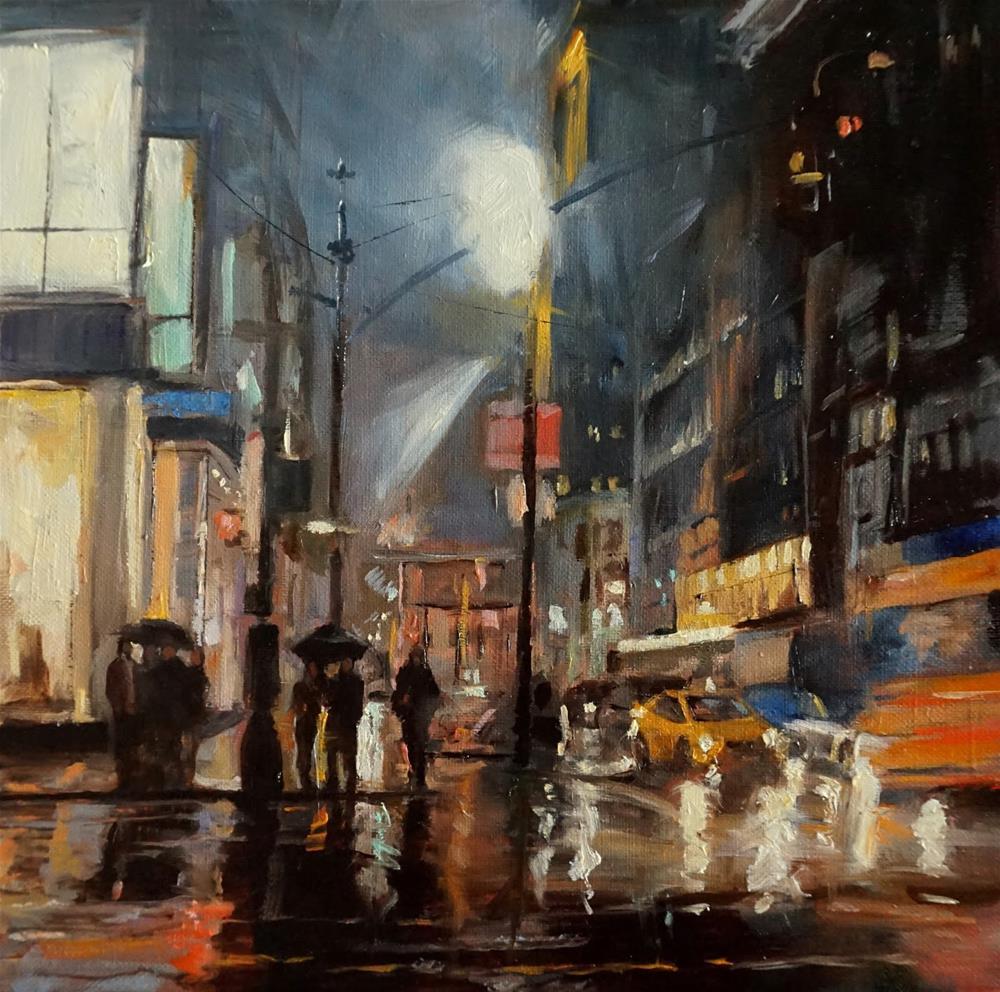 """""""Rainy Night in Manhattan"""" original fine art by Jonelle Summerfield"""
