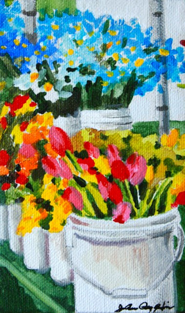 """Blue Iris in the Back"" original fine art by JoAnne Perez Robinson"