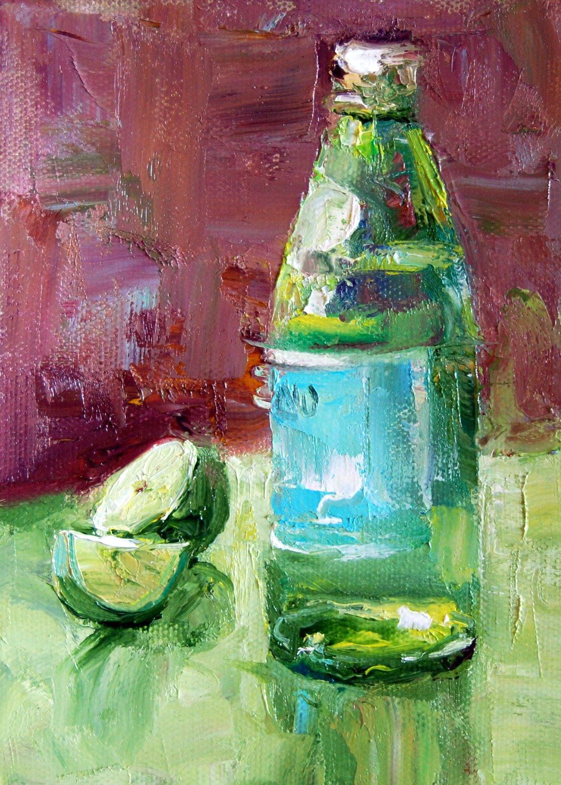 """Pellegrino and Lime"" original fine art by Julie Ford Oliver"