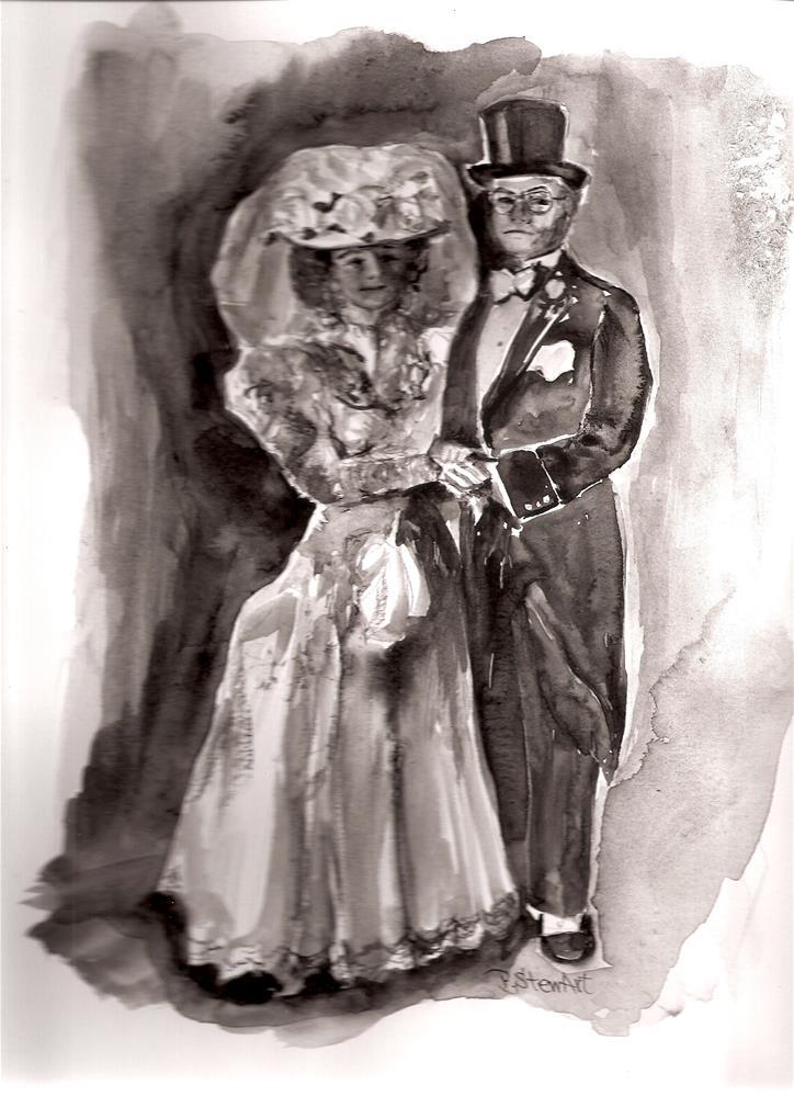 """9x12 Bride and Groom Black and White Vintage Painting Penny Lee StewArt"" original fine art by Penny Lee StewArt"