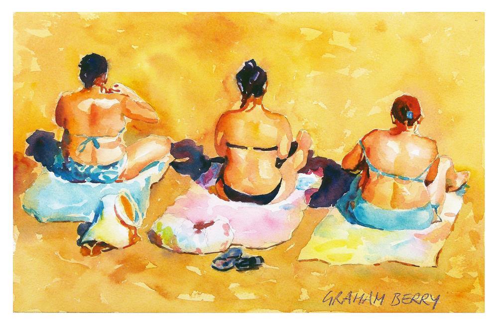 """""""Beach girls"""" original fine art by Graham Berry"""