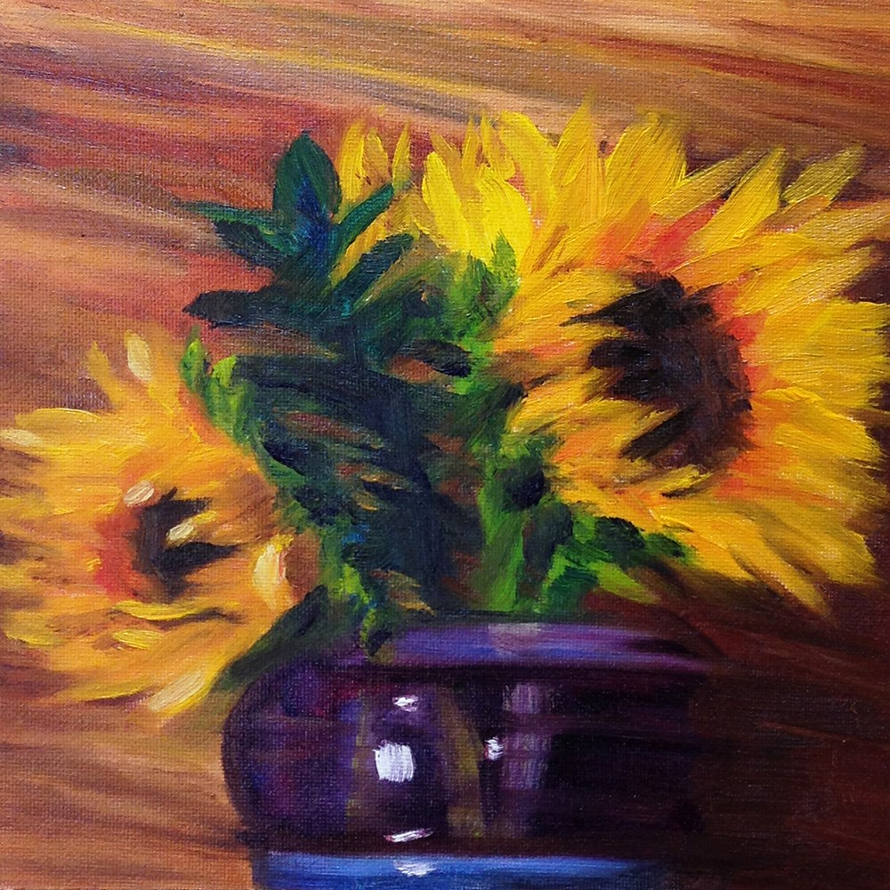 """""""Impression of Expressionistic Sunflowers"""" original fine art by Linda Lowery"""