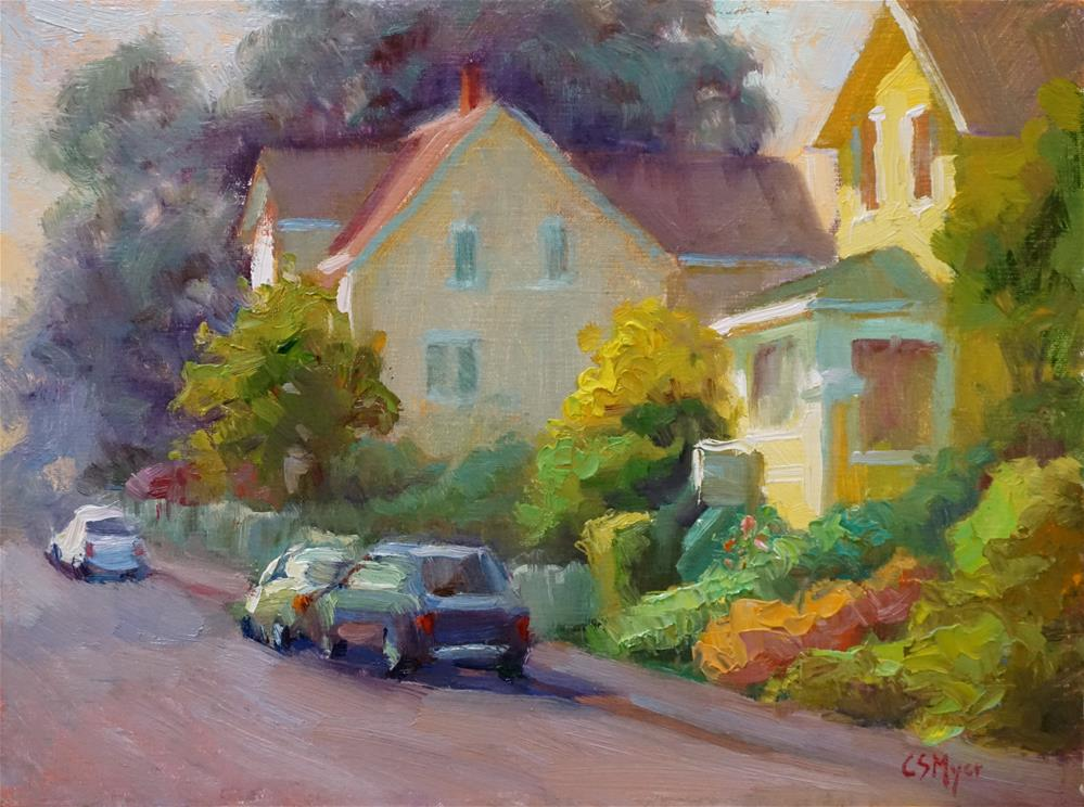 """Main Street Mendocino"" original fine art by Carol Myer"