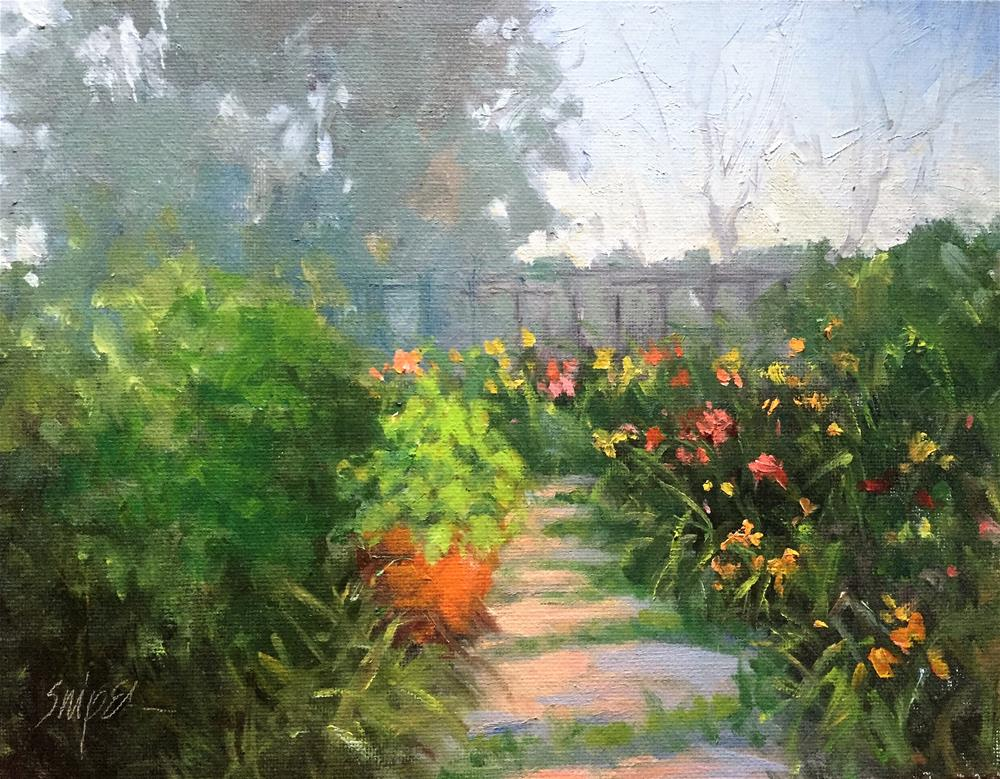 """Daylilies in the Garden"" original fine art by Connie Snipes"
