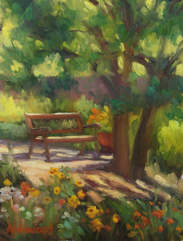 """Garden Bench with Wildflowers"" original fine art by Sherri Aldawood"