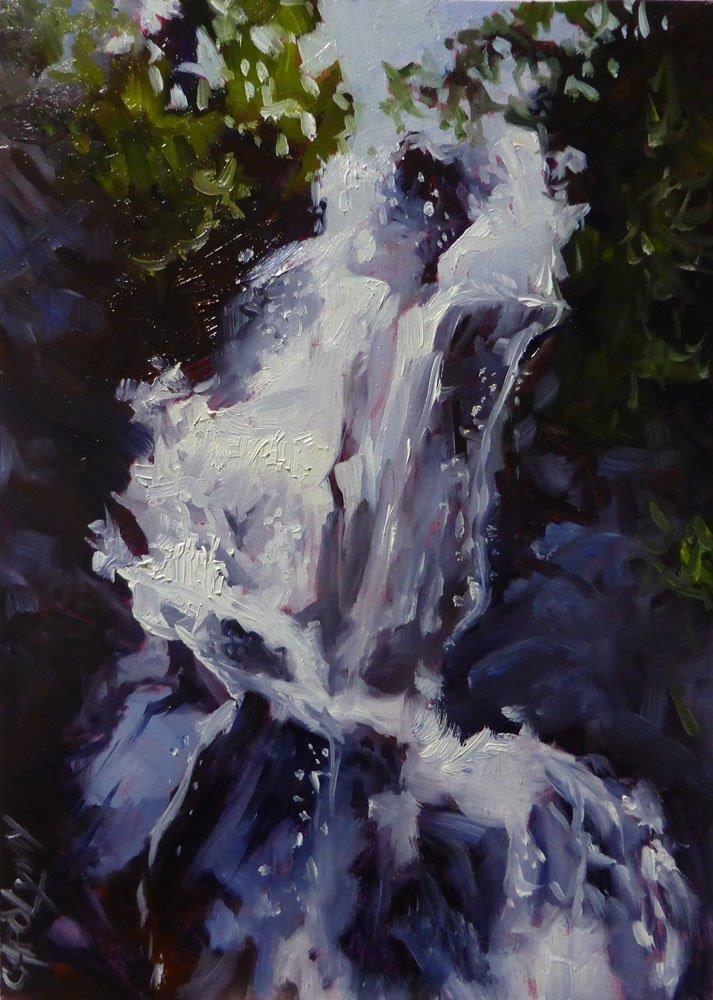"""""""Waterfall, Juan de Fuca Trail"""" original fine art by Carolynn Doan"""