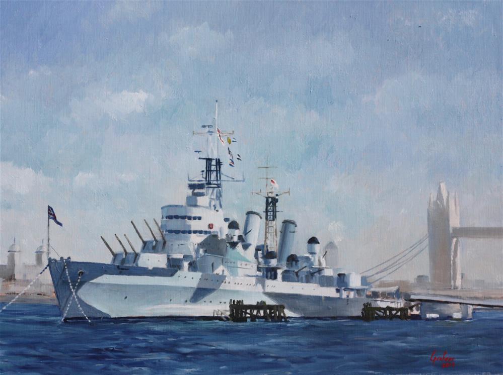 """HMS Belfast"" original fine art by Graham Townsend"