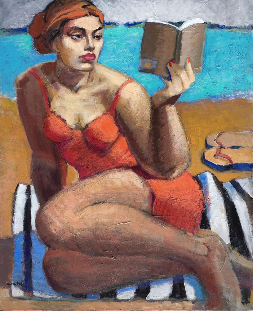"""A Summer Read, woman reading book, beach, ocean, figurative study, abstract figurative artist, femal"" original fine art by Marie Fox"