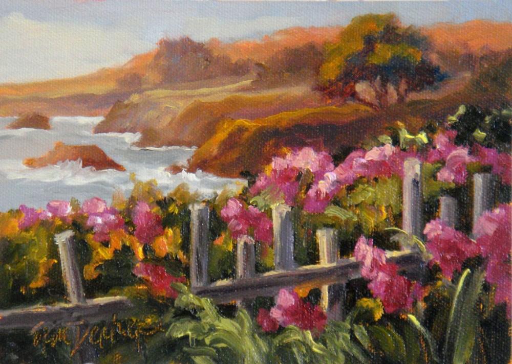 """""""Wild Sweet Peas and Surf"""" original fine art by Erin Dertner"""