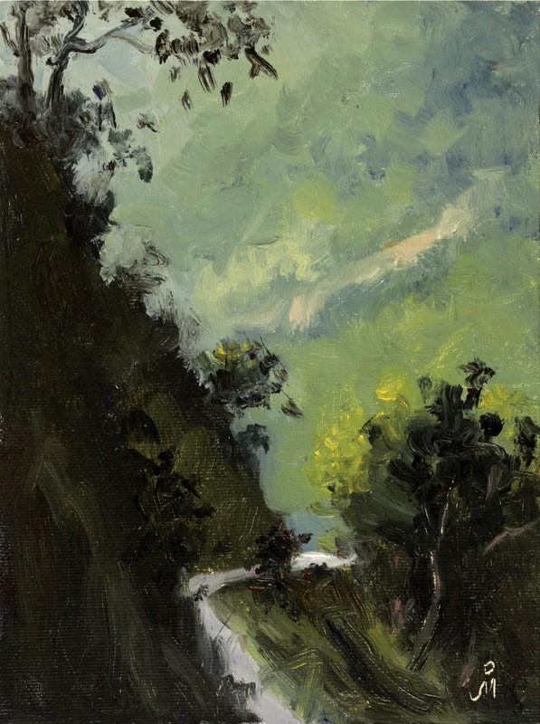 """""""Cliffhangers of Sikkim"""" original fine art by Mandar Marathe"""