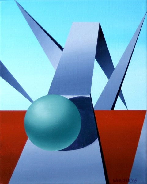 """""""Mark Webster - Abstract Geometric Sphere Track #1 Painting"""" original fine art by Mark Webster"""