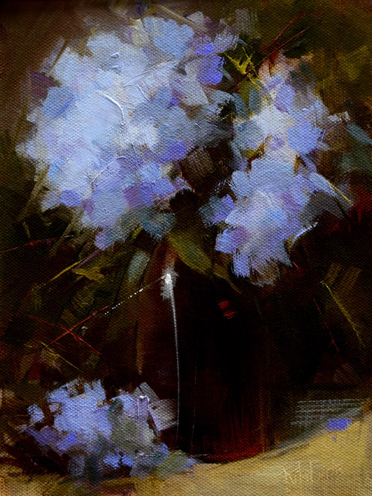 """Blue Hydrangeas"" original fine art by Rita Curtis"