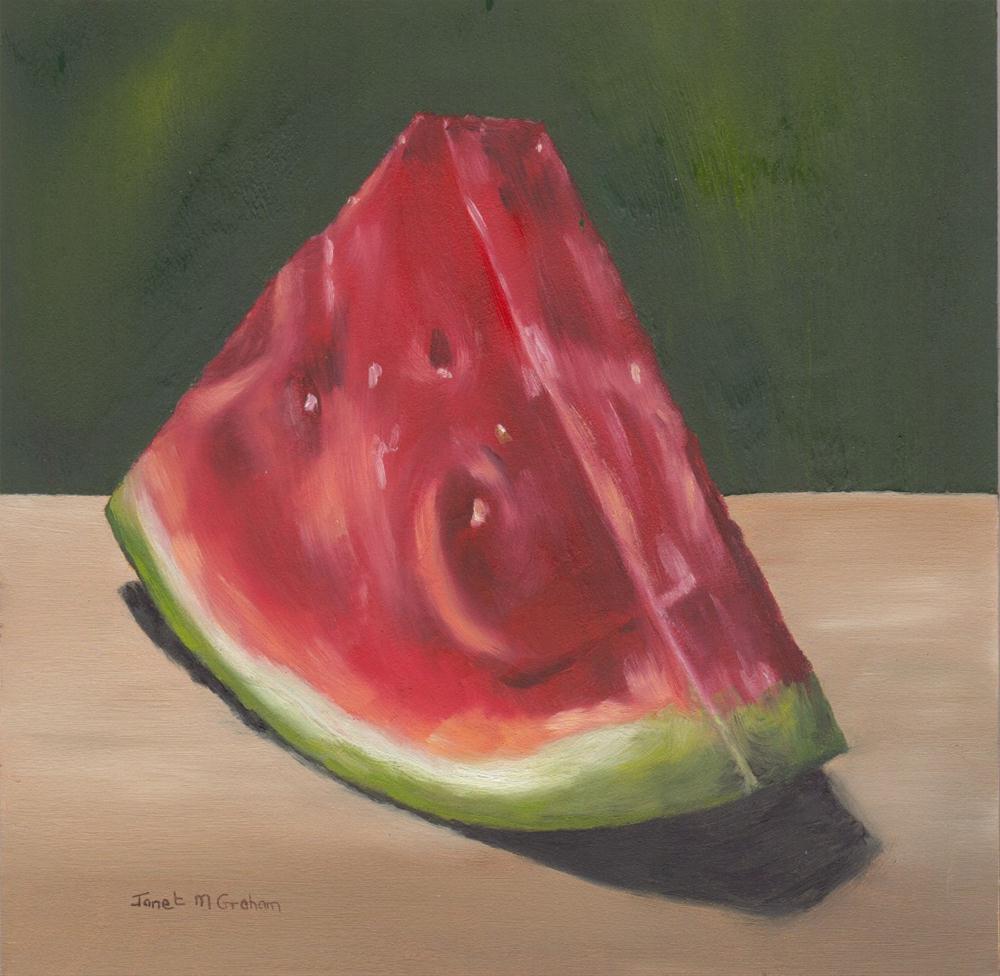 """Watermelon Slice"" original fine art by Janet Graham"