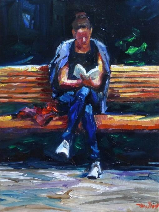 """""""read on"""" original fine art by Jurij Frey"""