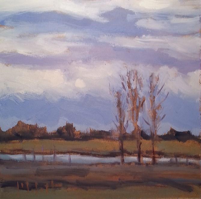 """""""Impressionism Original Oil Painting Three Poplars"""" original fine art by Heidi Malott"""