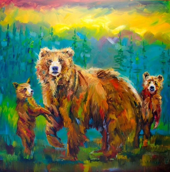 """ARTOUTWEST Momma Bear Wildlife art oil painting Original Diane Whitehead"" original fine art by Diane Whitehead"