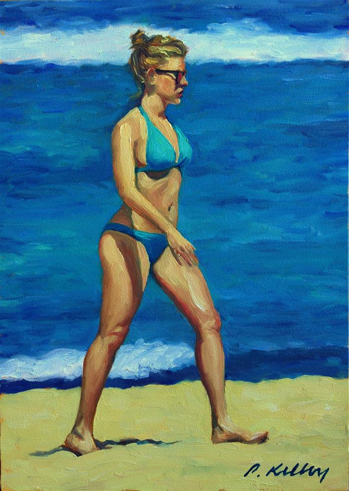 """""""Woman in a Blue Bikini"""" original fine art by Pat Kelley"""
