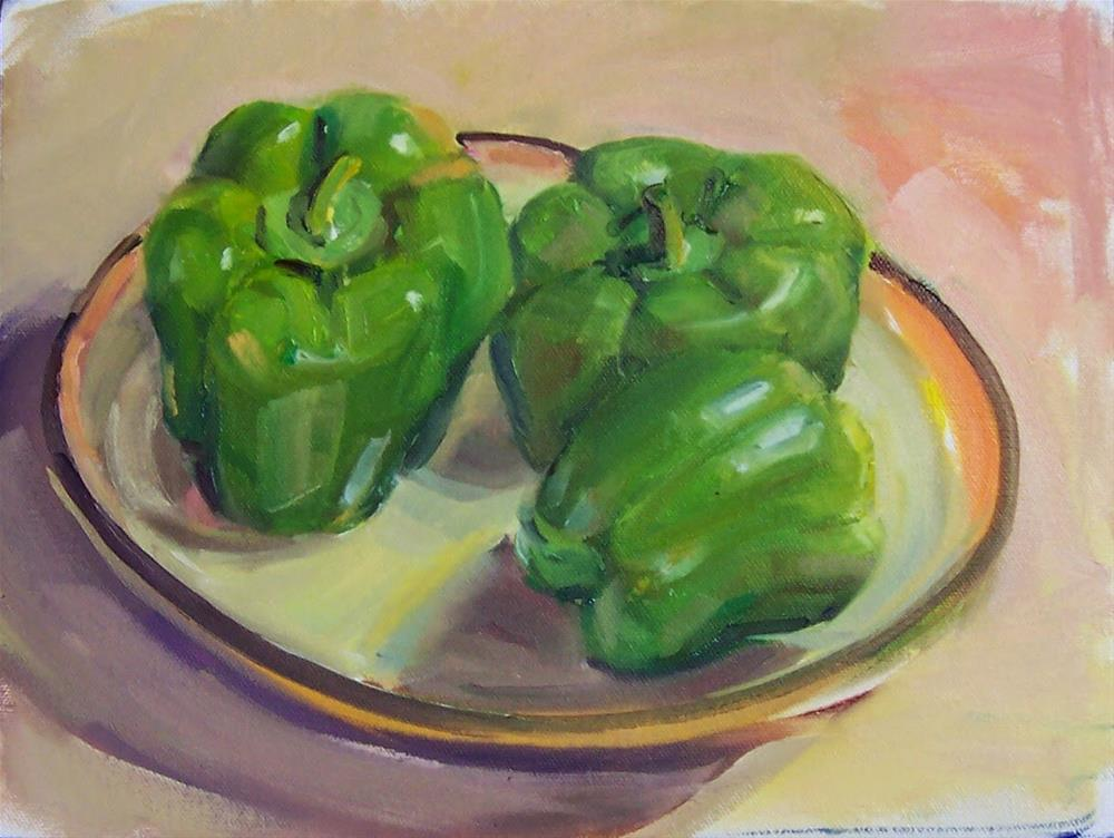 """Three Green Peppers,still life,oil on board,9x12,price$450"" original fine art by Joy Olney"