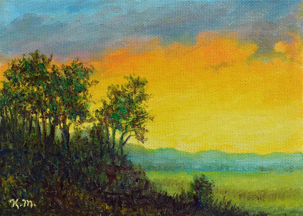 """""""Farm Field at Sunset (C) 2016 by K. McDermott"""" original fine art by Kathleen McDermott"""