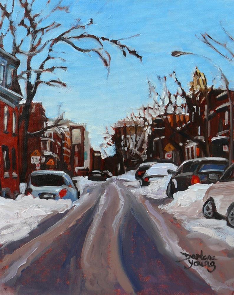 """1100 Montreal Winter Scene, 8x10, oil on board"" original fine art by Darlene Young"