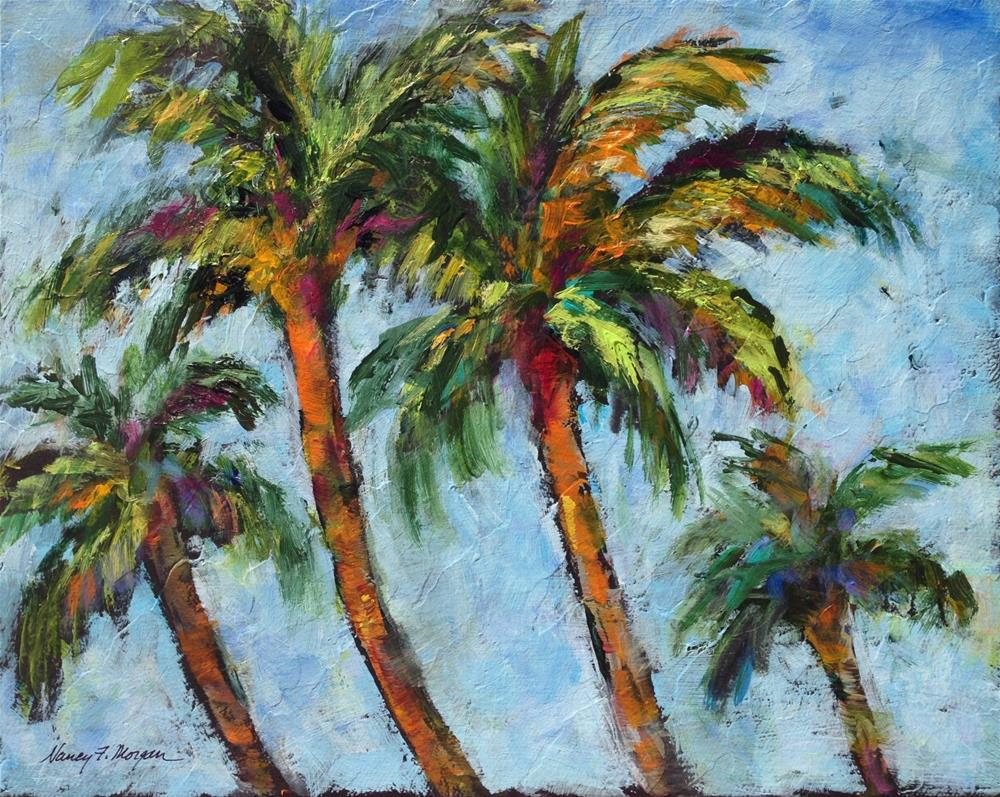 """Four Funky Palms"" original fine art by Nancy F. Morgan"