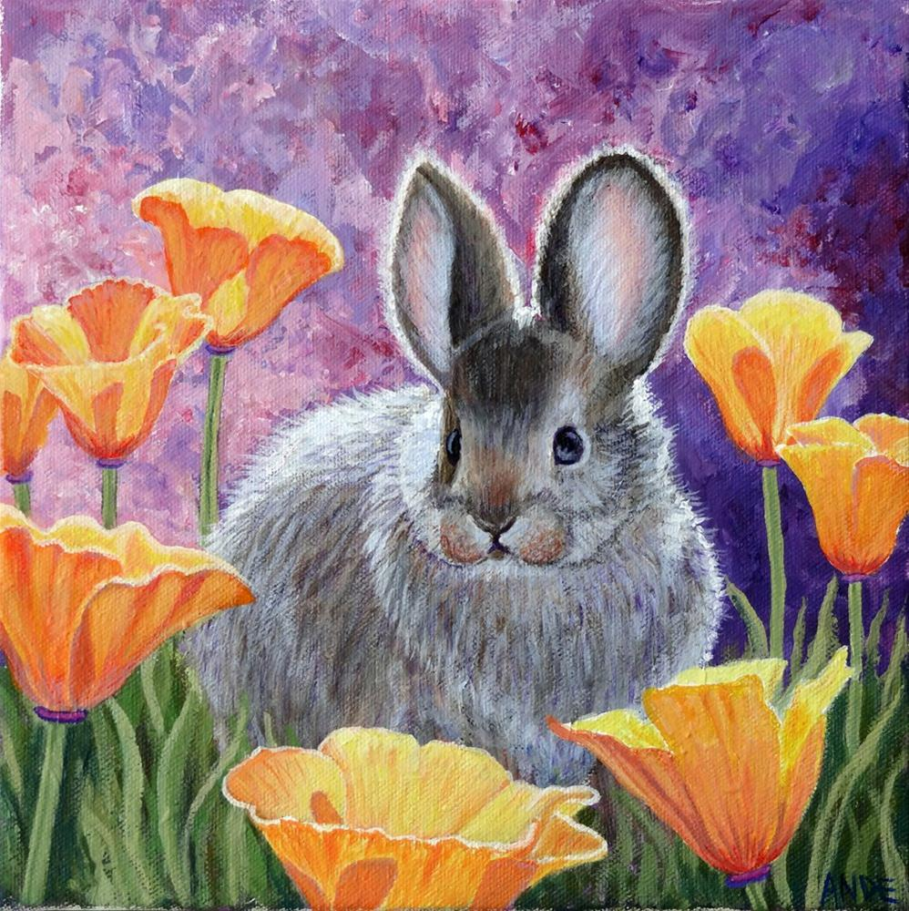"""""""Pygmy Rabbit with Poppies"""" original fine art by Ande Hall"""