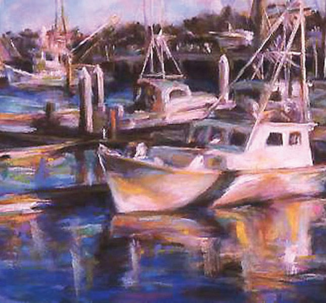 """DOCKED IN THE MORNING is floating away . . ."" original fine art by Susan Roden"