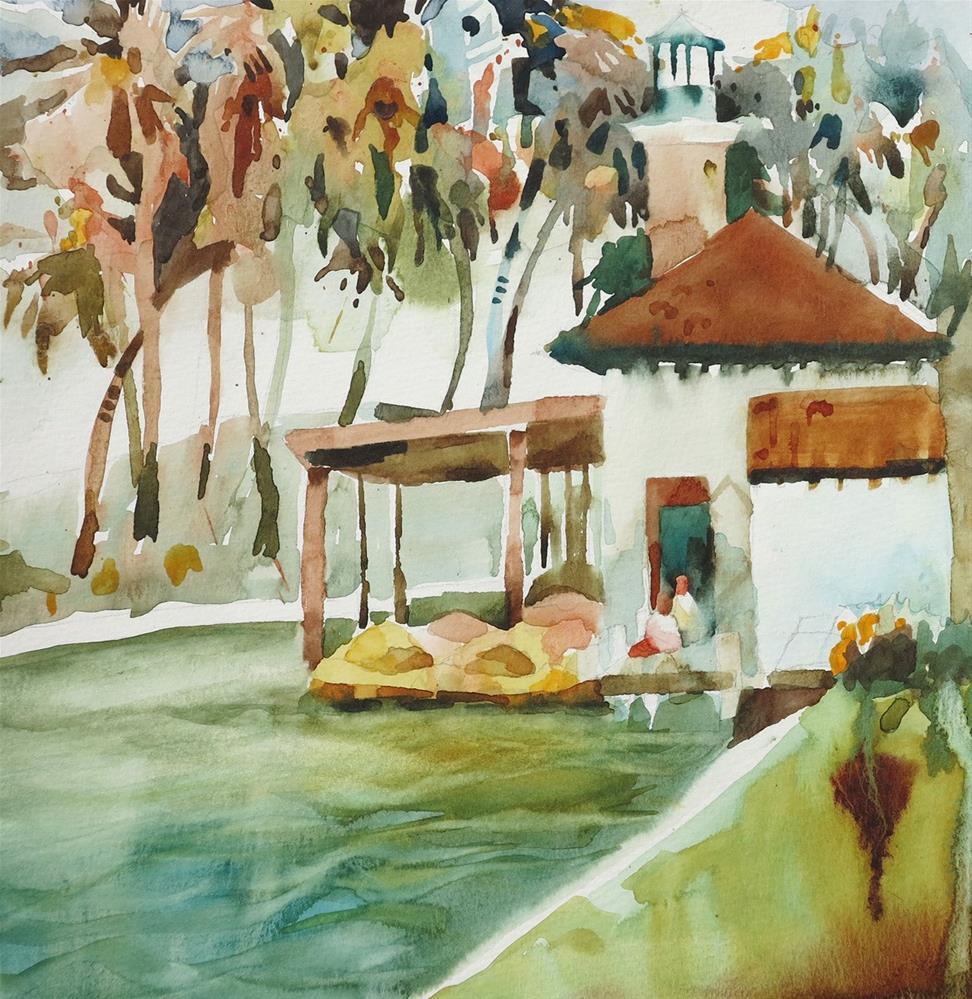 """Echo Park Boathouse"" original fine art by Julie Crouch"