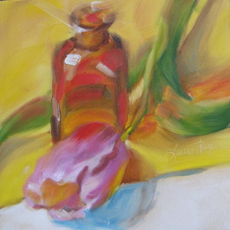 """Single Tulip - 331"" original fine art by Laura  Buxo"