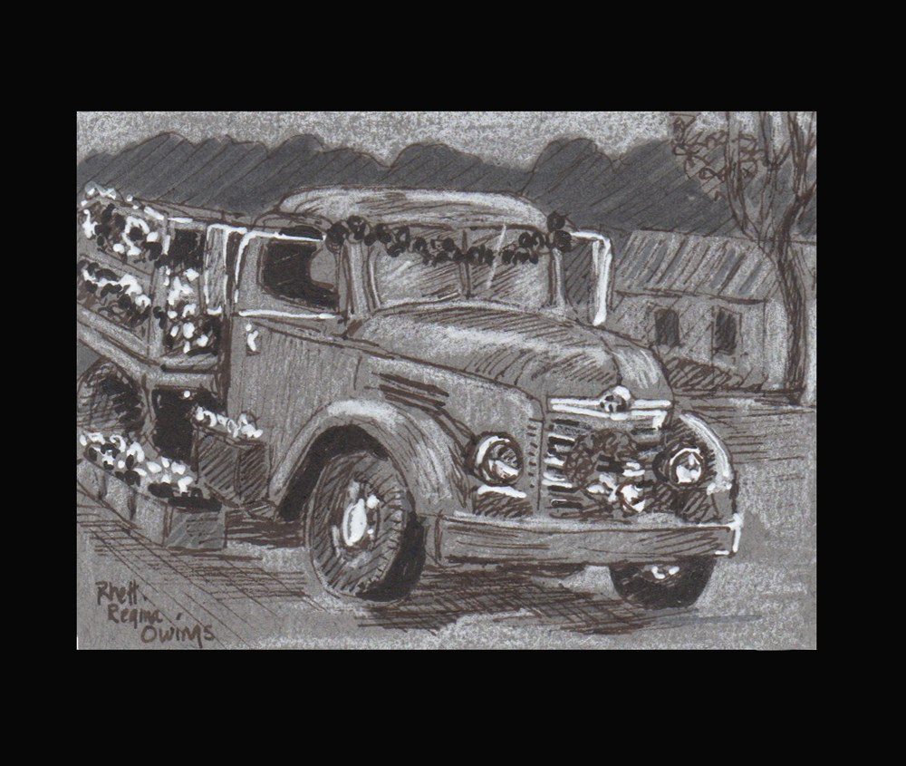 """Christmas Truck"" original fine art by Rhett Regina Owings"