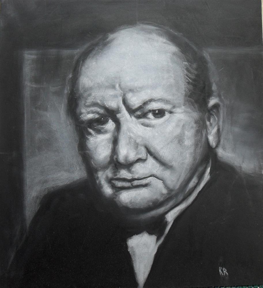 """Sir Winston"" original fine art by Karen Roncari"