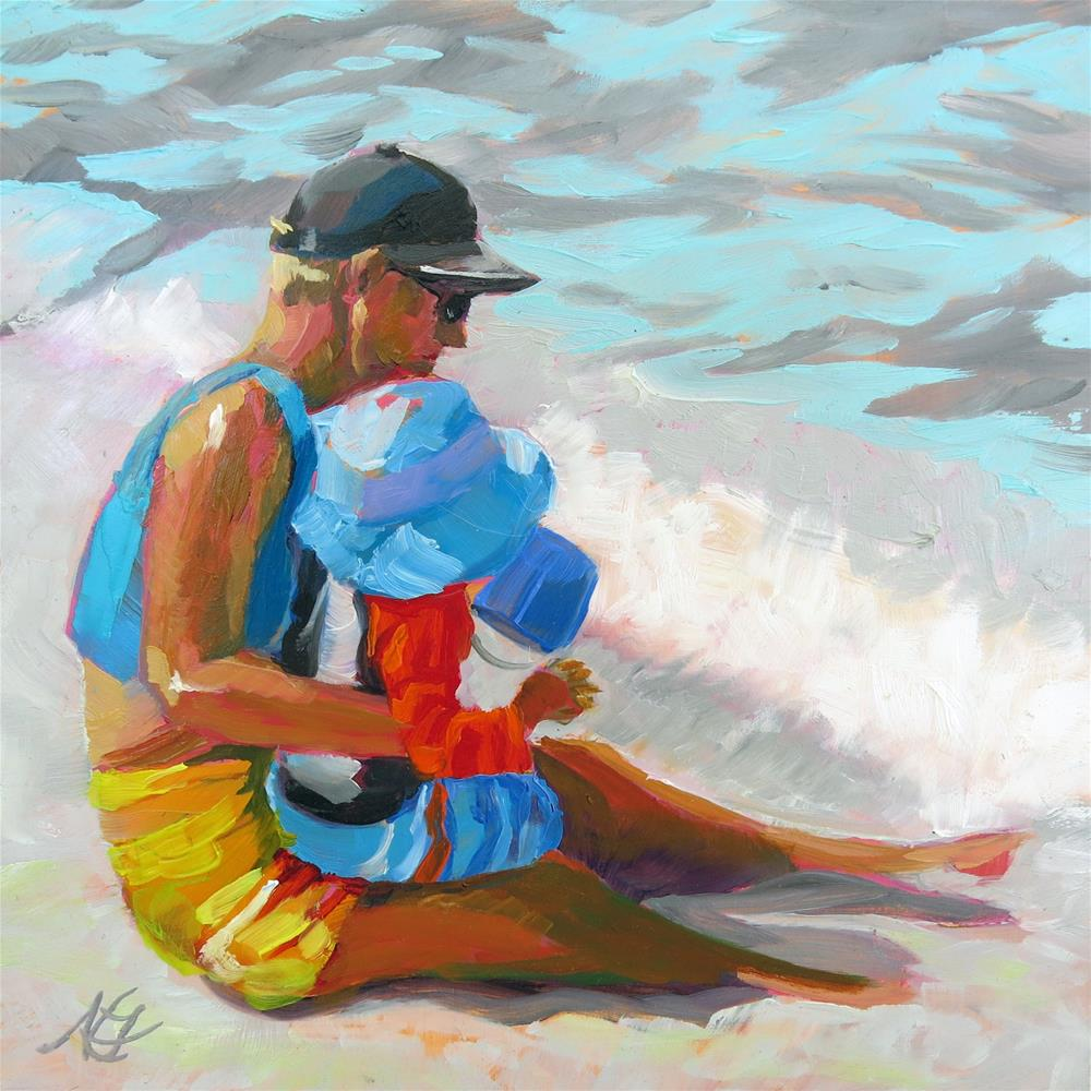 """""""Father and Son in the Surf"""" original fine art by Nancy Fairchild"""
