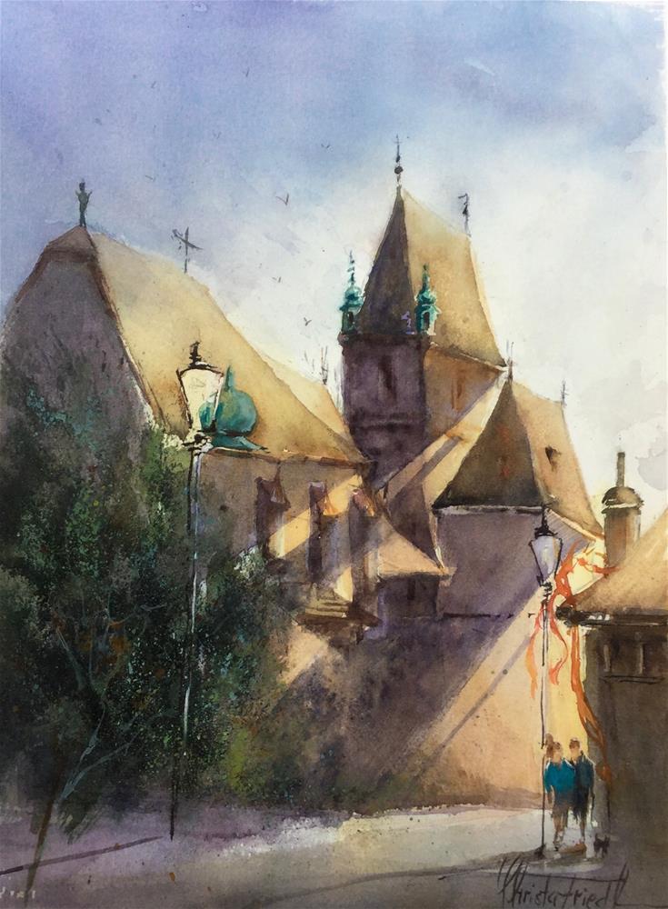 """Castle Perchtoldsdorf"" original fine art by Christa Friedl"