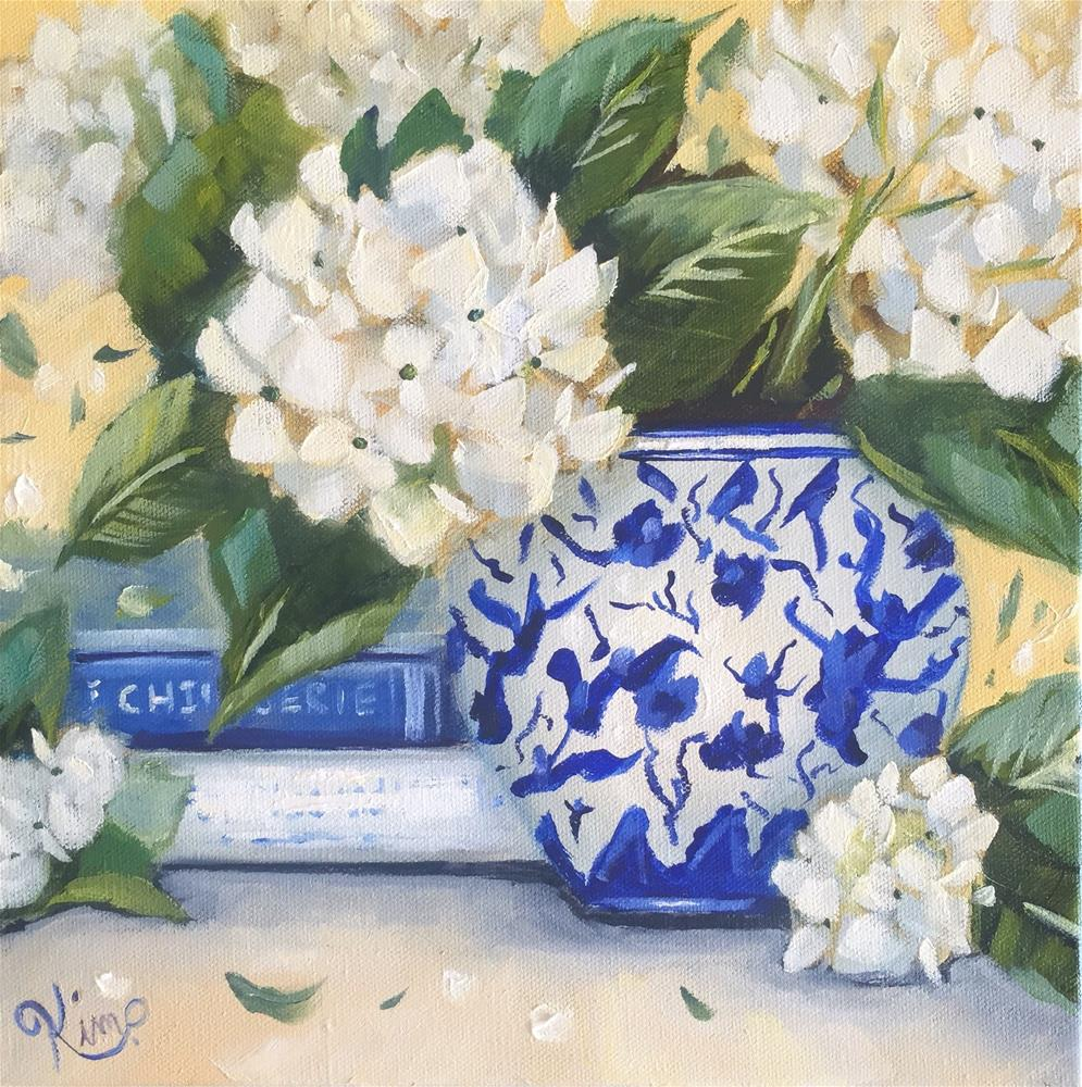 """""""Hydrangea Still Life with Blue and White Vase and Books"""" original fine art by Kim Peterson"""