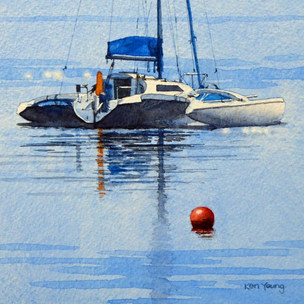 """""""Catamaran"""" original fine art by Ken Young"""