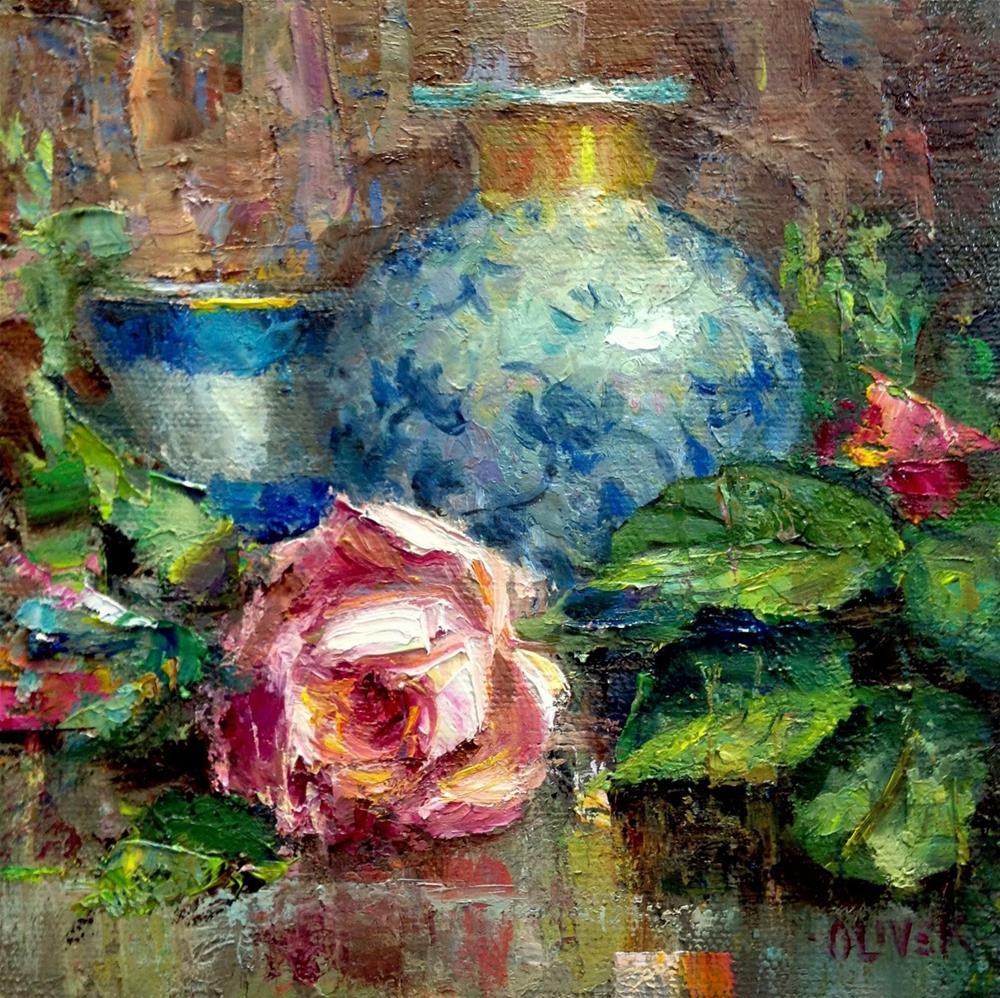 """""""Rose and Porcelain"""" original fine art by Julie Ford Oliver"""