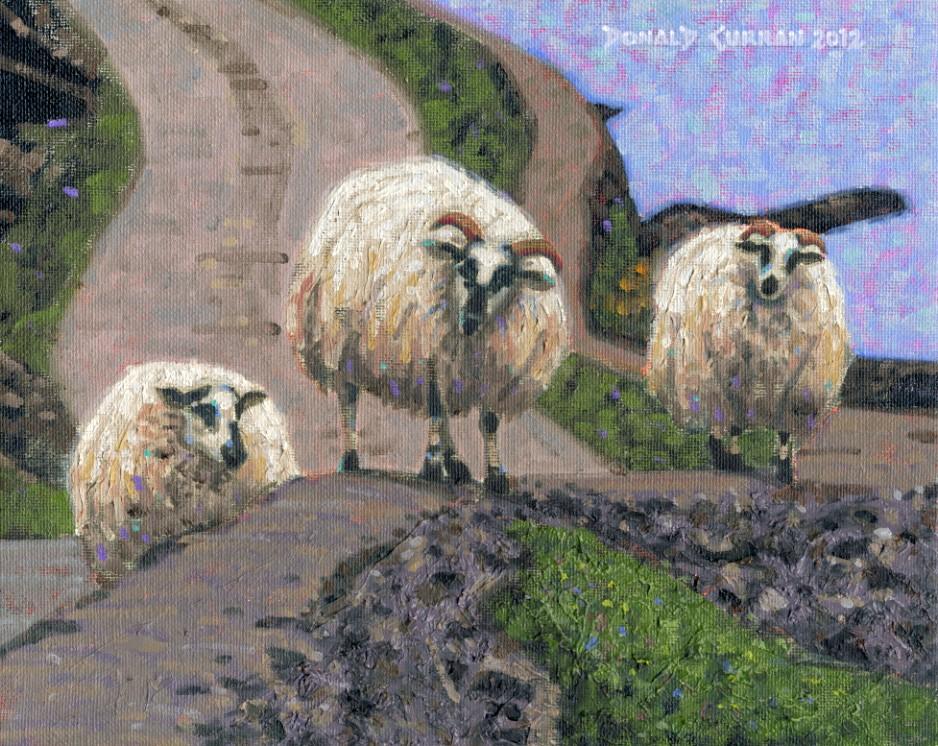"""Sheep Walking A Wall"" original fine art by Donald Curran"