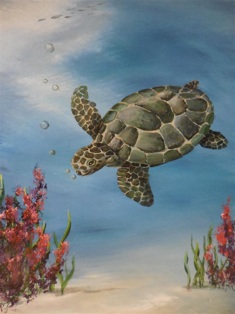 """""""Sea Turtle"""" original fine art by Terri Nicholson"""