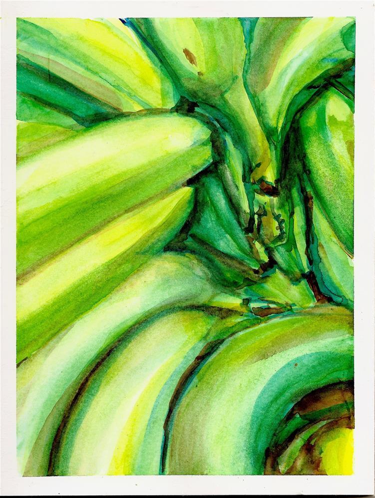"""""""Green Bananas"""" original fine art by Jean Krueger"""