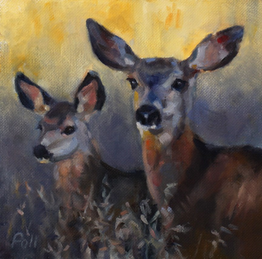 """Deer and Fawn"" original fine art by Pamela Poll"