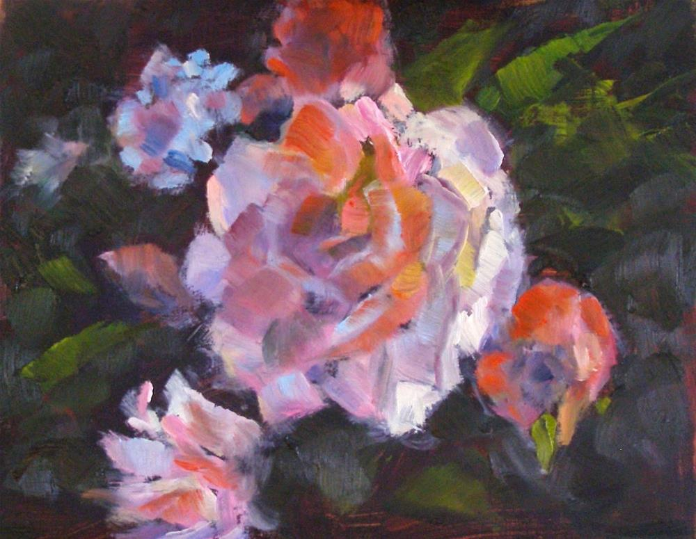 """One-Eyed Rose, 10x8 Original Floral Oil Painting on Panel"" original fine art by Carmen Beecher"