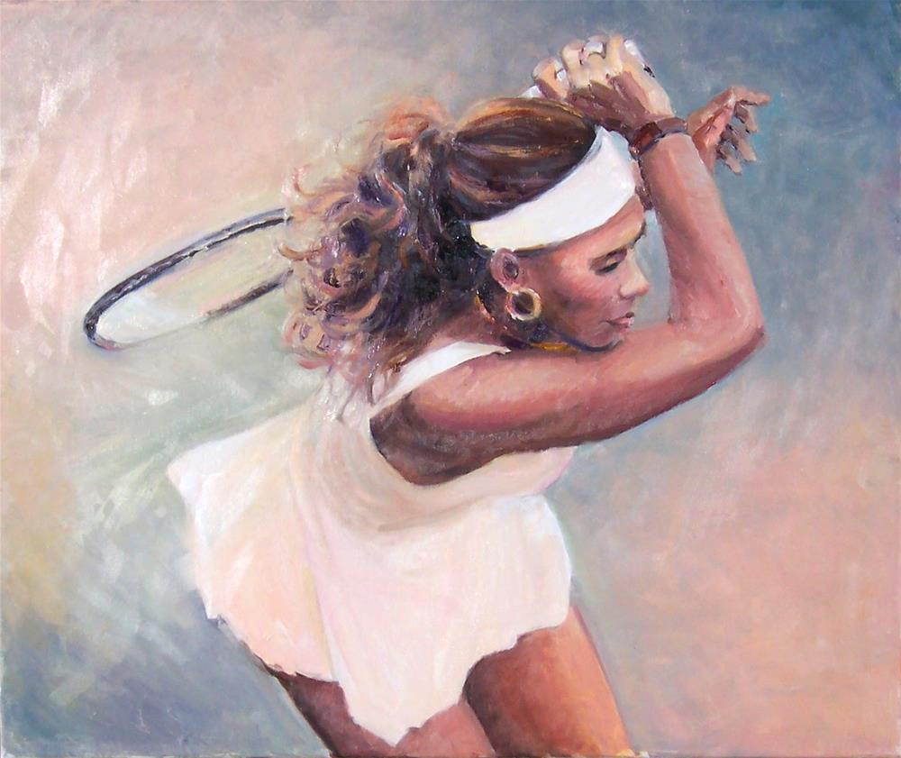 """Serena,Wimbledon,portrait,oil on canvas,20x24,price$1,400"" original fine art by Joy Olney"